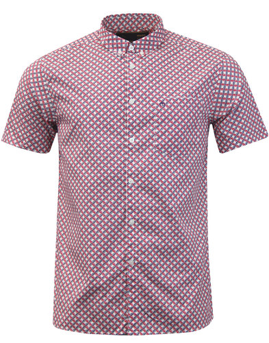Avery MERC Men's 60s Mod Op Art Circle Shirt RED