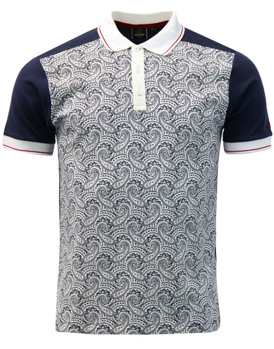 Barnes MERC Mens Retro 60s Mod Paisley Panel Polo