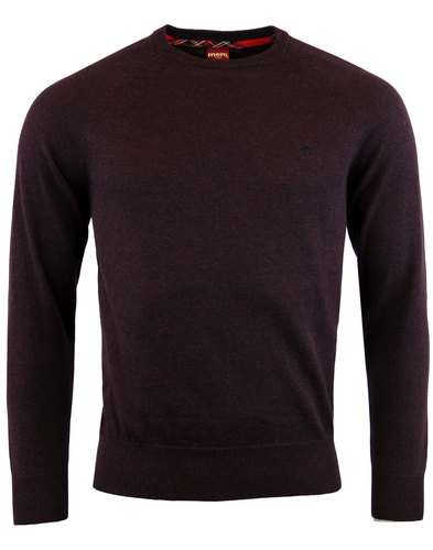 merc berty retro 1960s mod crew neck jumper wine