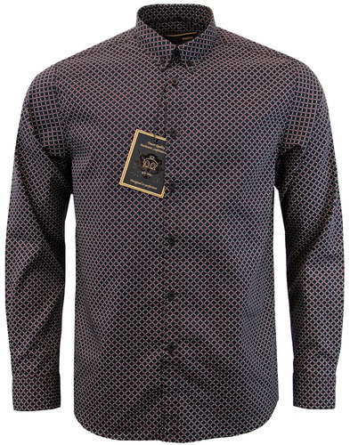 merc brigsley 60s mod geo print button down shirt