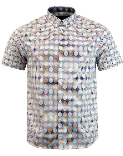 merc caspian retro mod bubble polka dot shirt blue