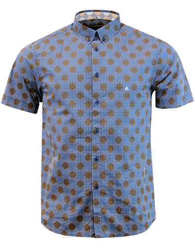 merc caspian retro mod bubble polka dot shirt navy