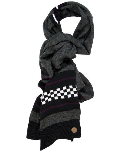 merc claxby retro mod revival checker knit scarf