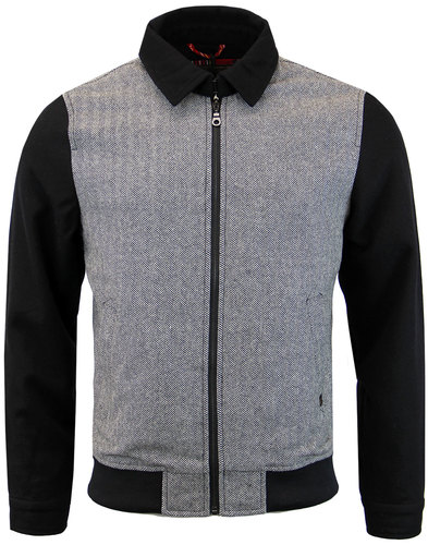 merc epworth retro mod herringbone wool harrington