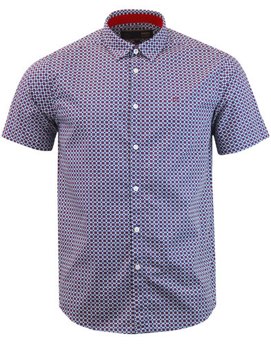 Fircroft MERC 60s Mod S/S Retro Floral Shirt BLUE