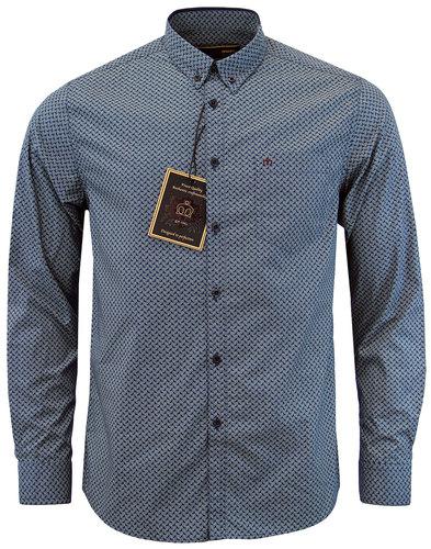 merc helmsley retro mod paisley print shirt navy
