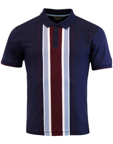merc hessle retro mod stripe panel polo top navy