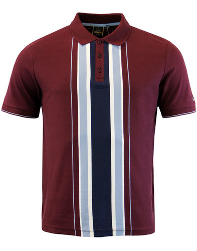 merc hessle retro mod stripe panel polo top wine