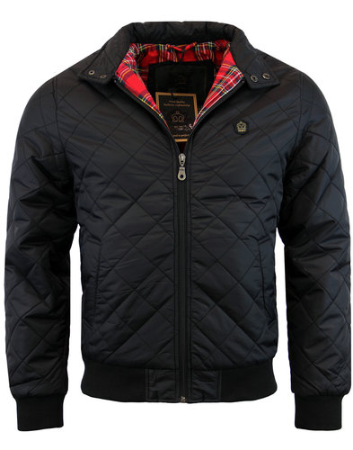 merc mens retro mod quilt harrington jacket black