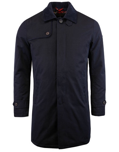 merc lingard retro 1960s mod padded mac coat navy