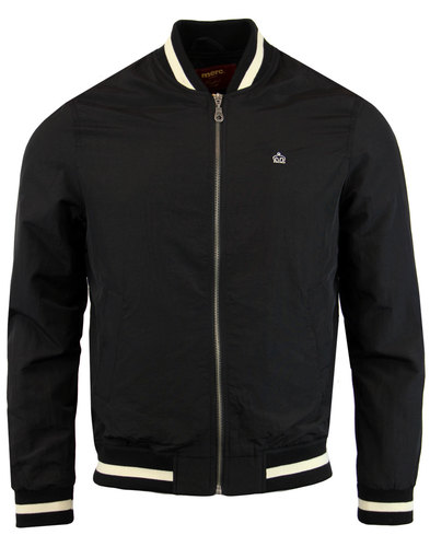 merc retro 70s mod stripe trim monkey jacket black