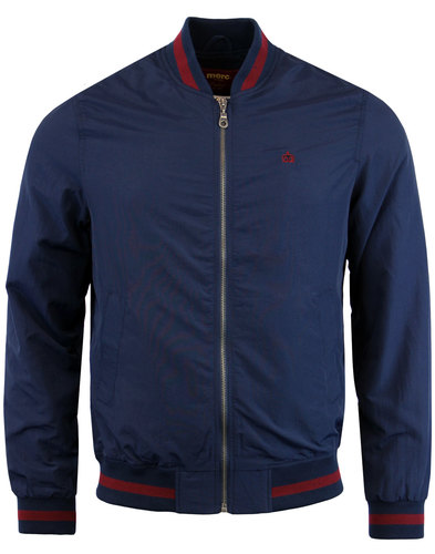 merc retro 70s mod stripe trim monkey jacket navy