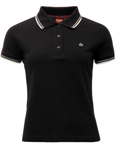 Rita MERC Retro Mod Tipped Pique Polo Shirt BLACK