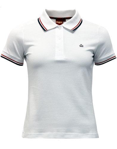 Rita MERC Retro Mod Tipped Pique Polo Shirt WHITE