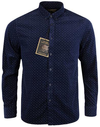 merc tetford retro 1960s mod cord polka dot shirt