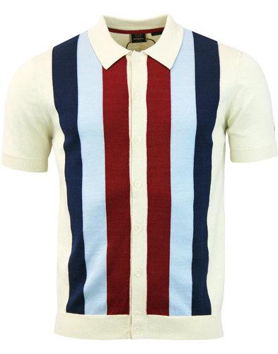 Upton MERC 60s Mod Stripe Panel Polo Cardigan (C)