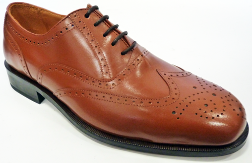 MERC RETRO MOD BROGUES TAN SHOES SIXTIES SEVENTIES