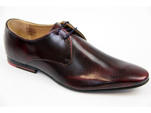 MERC RETRO MOD PIN DERBY SHOES BURGUNDY