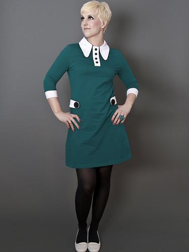 MADEMOISELLE YEYE RETRO MOD 60S POLO DRESS PETROL