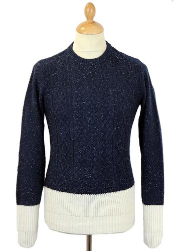 NATIVE YOUTH Retro 70s Fleck Cable Knit Jumper (N)
