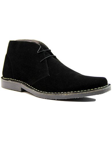 double decker retro mod suede desert boots black