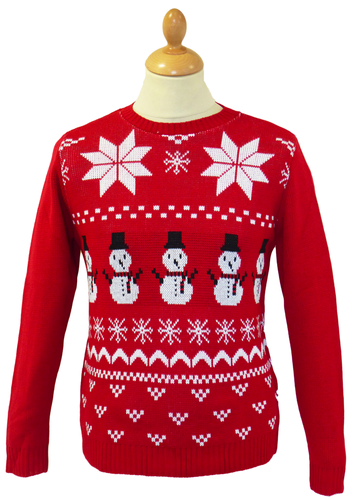 RETRO SNOWFLAKE SNOWMAN CHRISTMAS JUMPER RED 70s