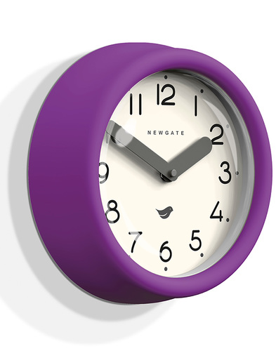 Pantry NEWGATE Retro Matte Wall Clock in Purple