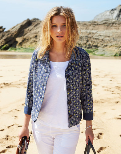 NOMADS Retro 60s Mod Geo Star Short Canvas Jacket