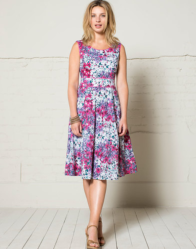Nomads retro summer floral dress fuchsia pink