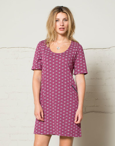 Nomads Retro 60s Tunic Dress Raspberry