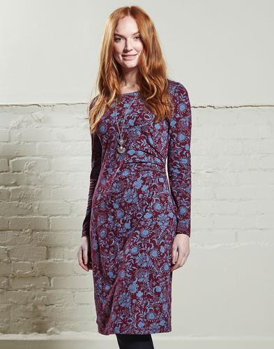 NOMADS Retro 70s Floral Print Side Ruched Dress