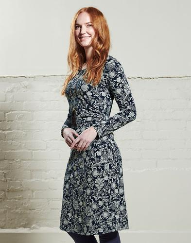 NOMADS Retro 70s Floral Print Ruched Dress in Navy