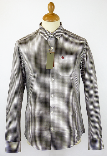 ORIGINAL PENGUIN GINGHAM SHIRT BROWN MOD 60s