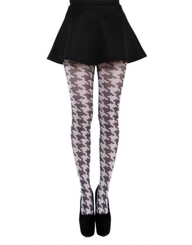PAMELA MANN RETRO MOD DOGTOOTH TIGHTS BLACK