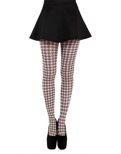 PAMELA MANN RETRO MOD DOGTOOTH TIGHTS BROWN