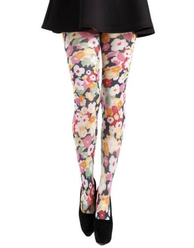 PAMELA MANN RETRO 60s FLOWER POWER PRINT TIGHTS
