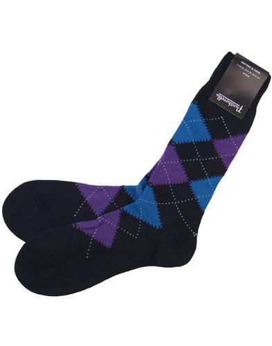 pantherella racton retro chunky argyle socks navy