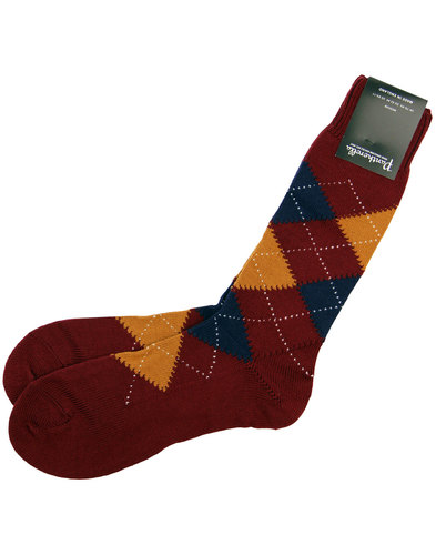pantherella racton retro chunky argyle socks wine