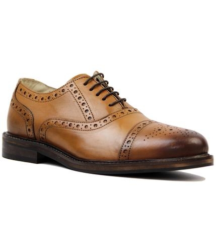 PAOLO VANDINI RETRO MOD 60s BROGUE SHOES TAN
