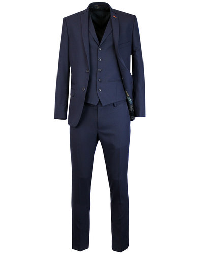 Retro 60s Mod Puppytooth 2 or 3 Piece Suit in Navy