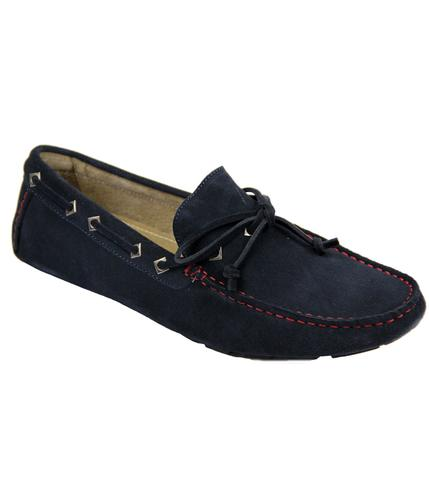 PAOLO VANDINI RETRO SUEDE DRIVING SHOES NAVY
