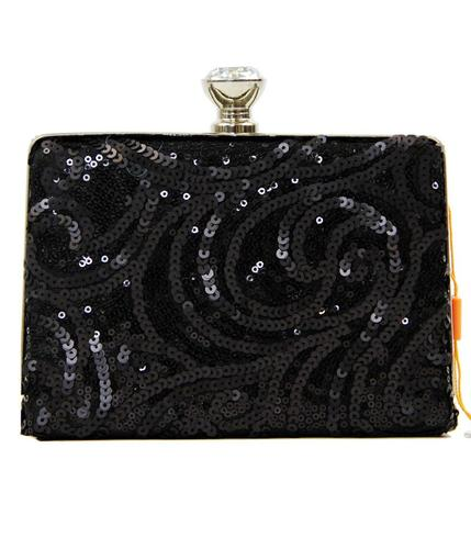 PEACH ACCESSORIES BLACK RETRO VINTAGE CLUTCH BAG