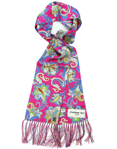 Piccadilly Pink Paisley PECKHAM RYE Mod Silk Scarf