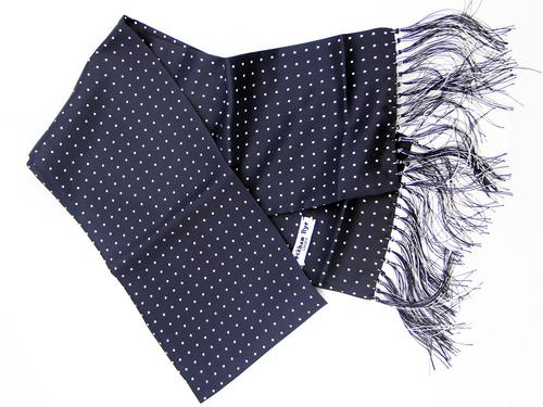 PECKHAM RYE RETRO MOD SILK SCARF LONDON SPOT NAVY