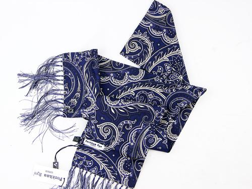 PECKHAM RYE MOD SILK SCARF LONDON PAISLEY BLUE