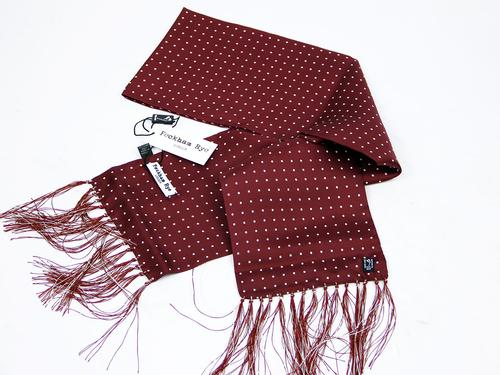 PECKHAM RYE MOD SILK SCARF LONDON DOT WINE