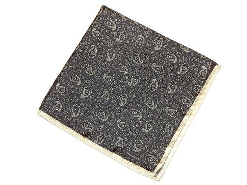 PECKHAM RYE Retro Mod Paisley Pocket Square (BG/W)