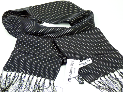 PECKHAM RYE MOD SILK SCARF MINI PIN DOT BLACK