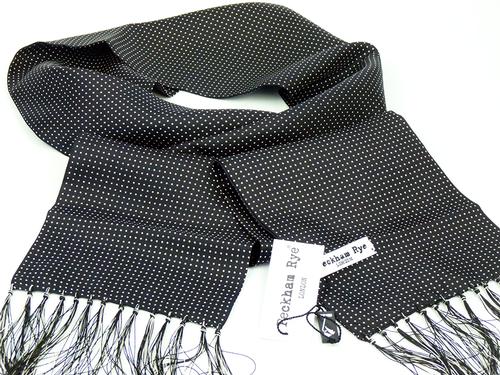 Pin Dot PECKHAM RYE Retro 60s Mod Black Silk Scarf