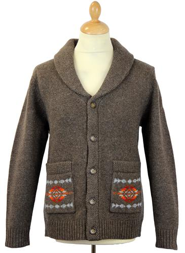 PENDLETON SHAWL COLLAR RETRO KNIT CARDIGAN